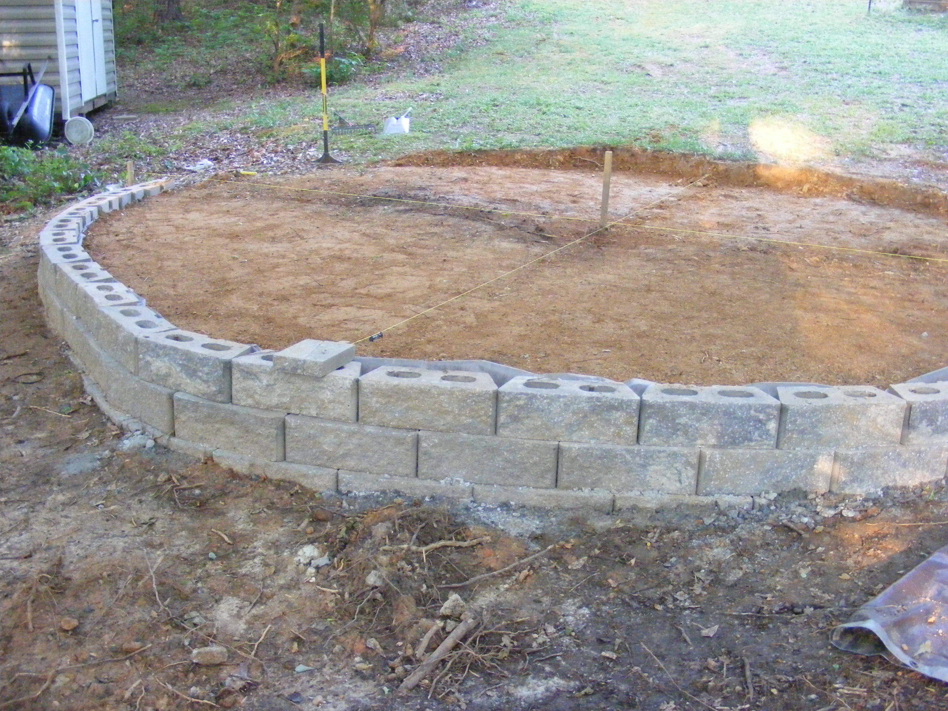 Flagstone Patio. Established A Level Soil Base