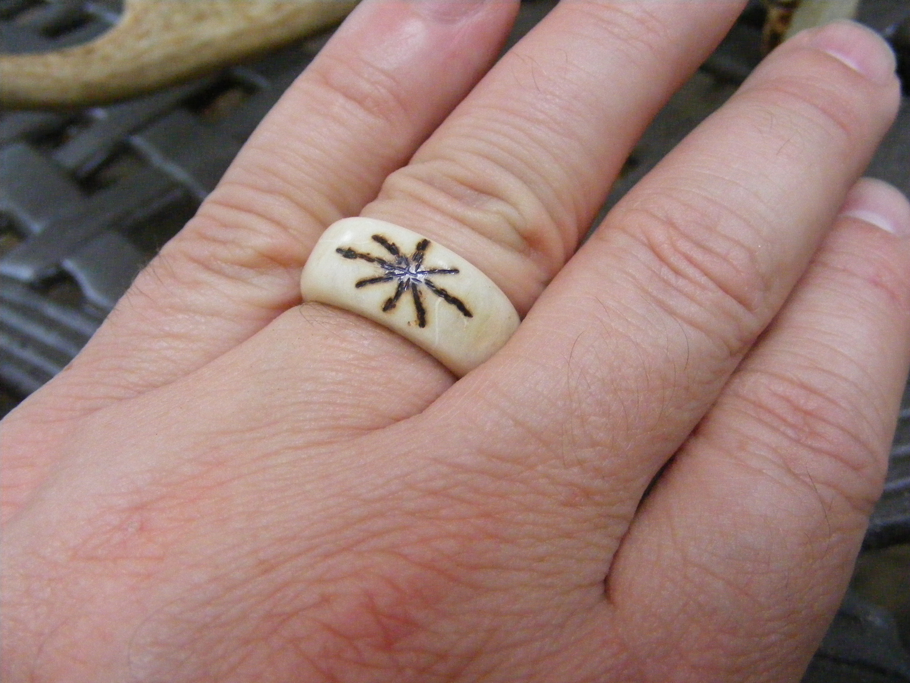 solid steel made damascus inlaid ring products rings wedding hunters deer in antler band custom