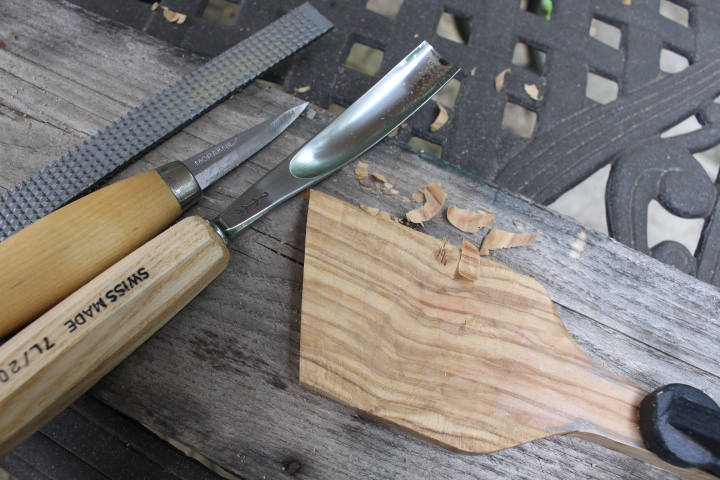 hand carved wooden spatula